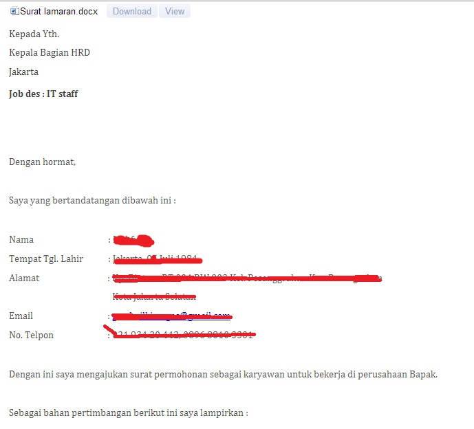 contoh penulisan lamaran kerja di email